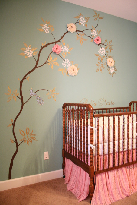 Baby girl 39 s nursery ideas babycenter for Baby room mural ideas