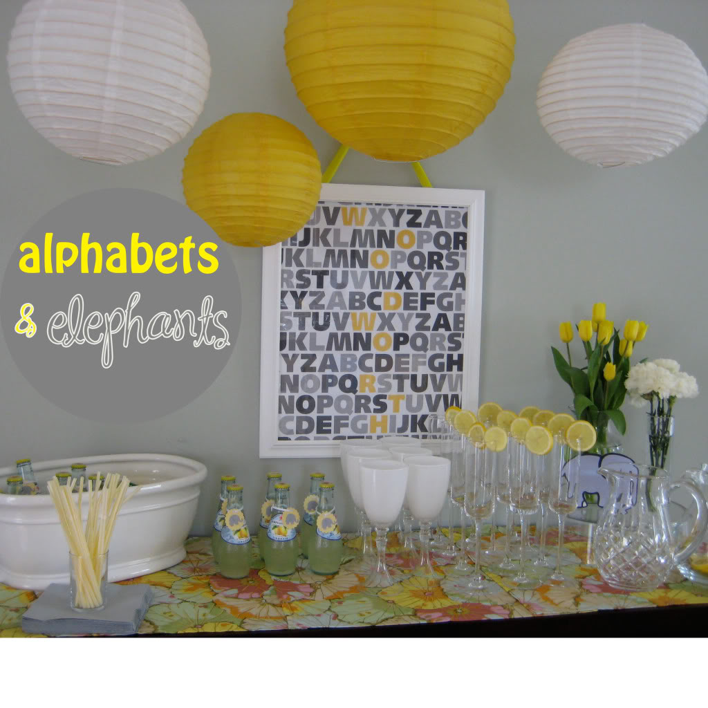 alphabets and elephants baby shower
