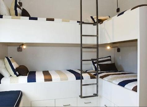 Bunk beds for vacation homes 4 beds in one room